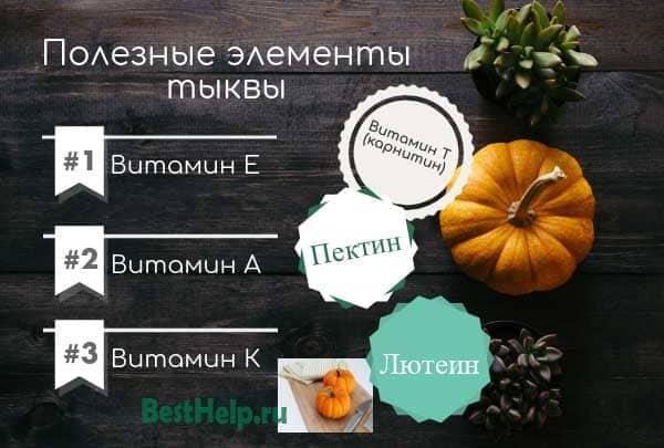 полезные элементы тыквы